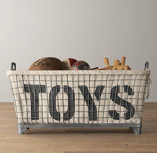 Industrial Basket & Toys Liner | Novelty Storage | Restoration Hardware Baby & Child