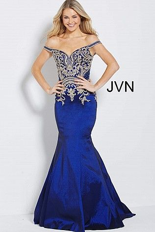 490e943ee8a Navy Embroidered Bodice Off the Shoulder Prom Dress JVN61193  BlueDress  JVN   Prom  Homecoming