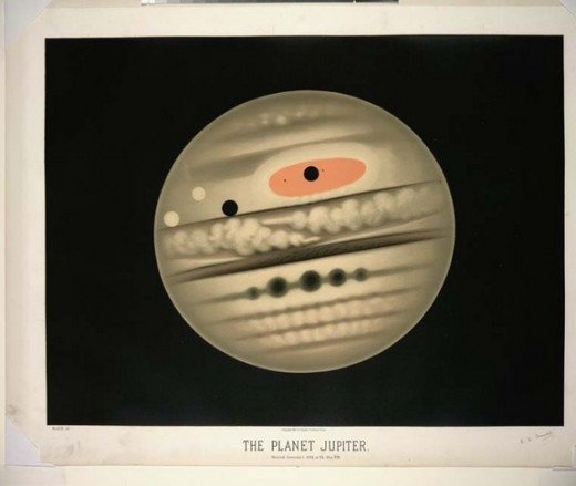 Jupiter - A chromolithograph of the planet Jupiter, observed Nov. 1, 1880, at 9:30 p.m. The piece of art reveals Jupiter's Great Red Spot, akin to a hurricane on Earth, which has been raging on the planet for hundreds of years.  CREDIT: E.L. Trouvelot, New York Public Library
