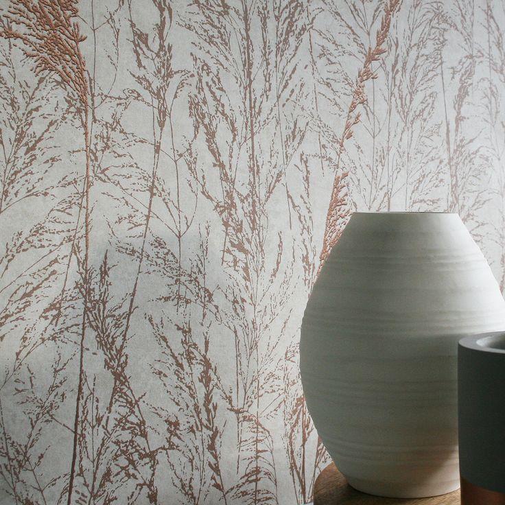 Grass Flower Floral Trail  Metallic Copper, Copper & Cream Wallpaper