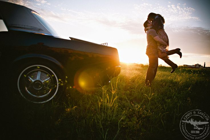 dallas, plano engagement with vintage mustang in a field with wildflowers. I've got the car.. now all I need is the man