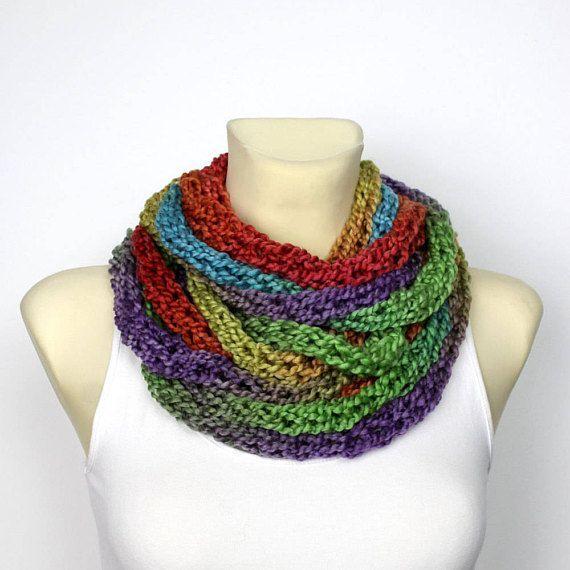 Arcobaleno in maglia sciarpa  grosso Infinity Scarf  maglia