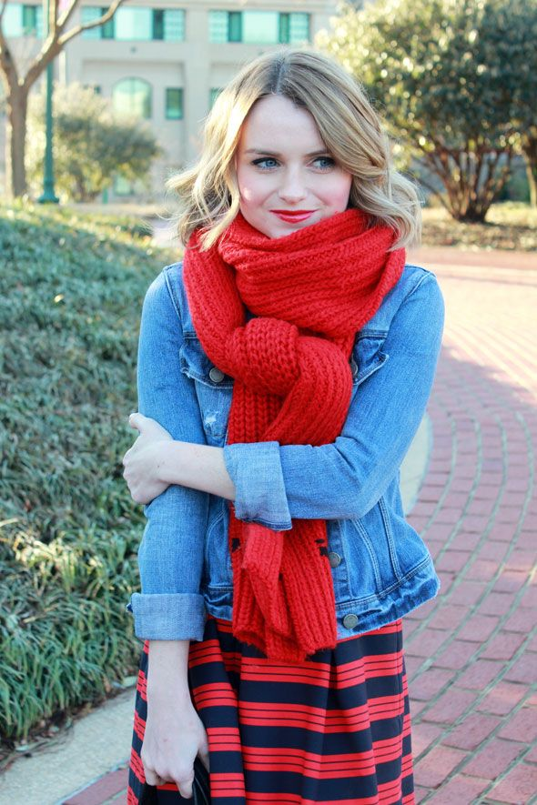Poor Little It Girl - @PaigeDenim Jacket and @Gap Navy and Red Striped Skirt
