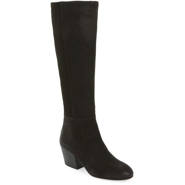 Women's Eileen Fisher Queen Tall Boot ($375) ❤ liked on Polyvore featuring shoes, boots, black leather, black high boots, black leather knee high boots, black knee boots, tall knee high boots and block heel knee high boots