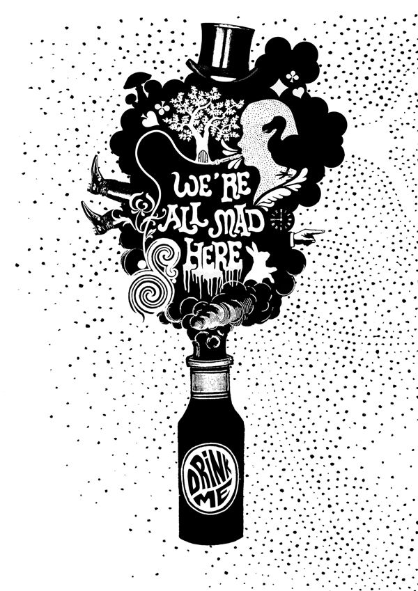 """I've searched for several """"drink me"""" images for awhile now but I enjoy this one especially because of the added imagery in the """"smoke."""" I like the idea of simplifying the image"""