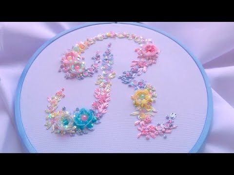 ВЫШИВКА: МОНОГРАММА ПАЙЕТКАМИ \ EMBROIDERY:MONOGRAM SEQUINS - YouTube