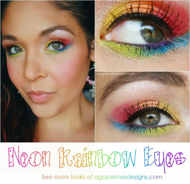 Agape Love Designs: Neon Rainbow Eye Makeup