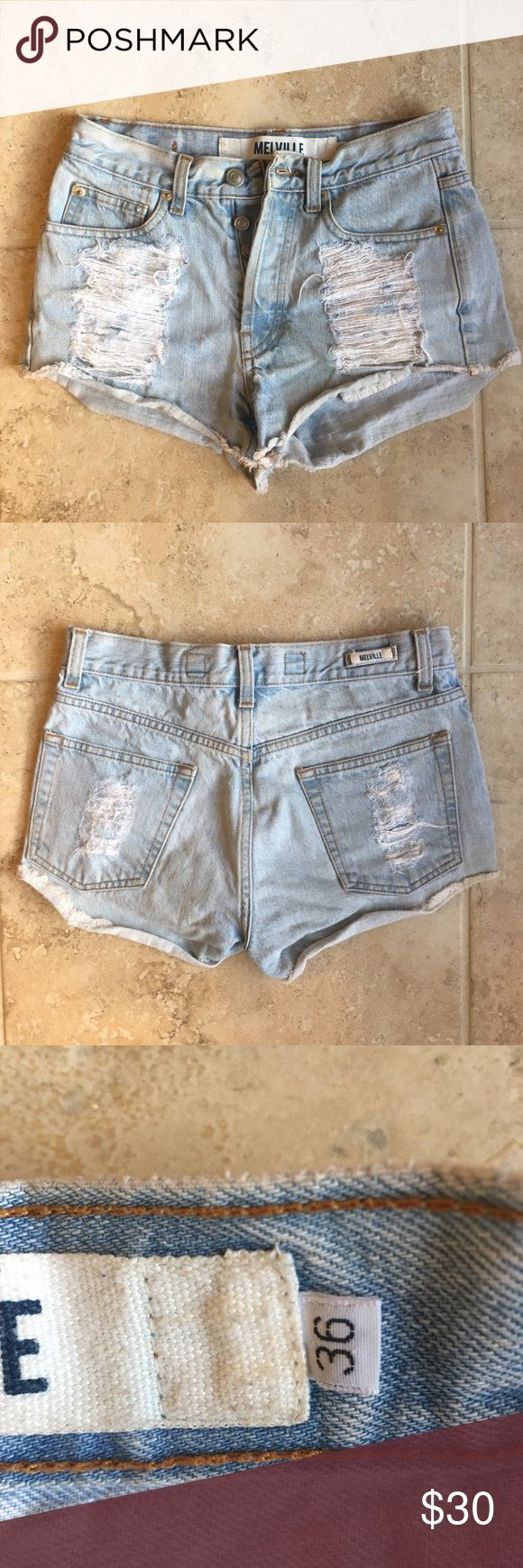 Brandy Melville Distressed Denim Shorts high waisted brandy melville shorts. in vguc. button fly. these were bought in europe so they are a eu size 36 which is a us 24. Brandy Melville Shorts Jean Shorts