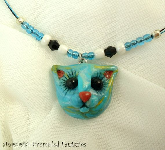 Blue gold marbled kitty pendant Polymerclay by CrumpledFantazies