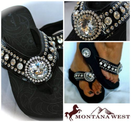 Montana West NEW STYLE! Western Bling Flip Flop Wedge Jeweled Black All Sizes! | Clothing, Shoes & Accessories, Women's Shoes, Sandals & Flip Flops | eBay!