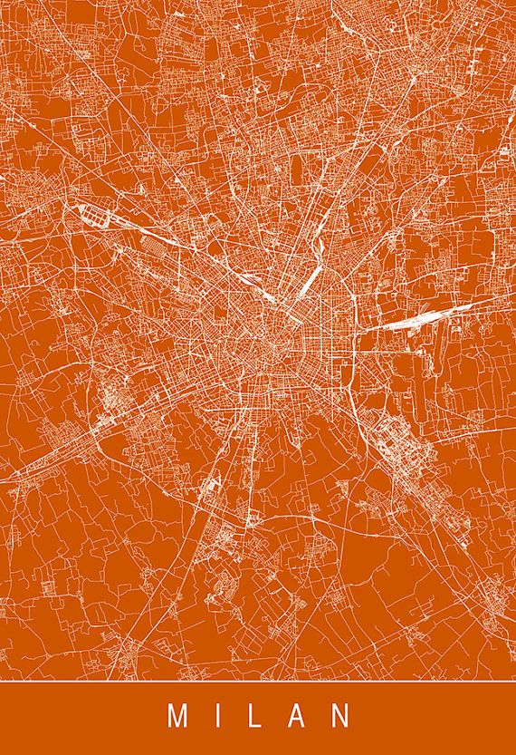 MILAN MAP POSTER Italy City Map Art Modern by EncoreDesignStudios