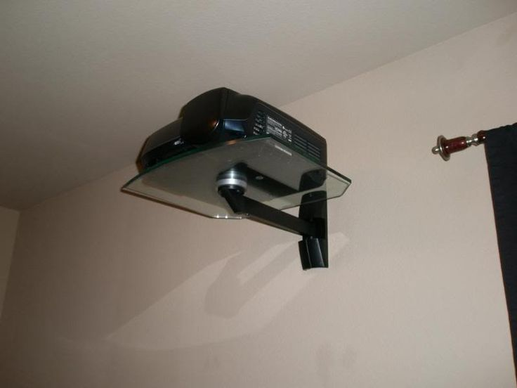 i like this projector mount it can sit right above the closet and run the av wires for an easy connection to av equipment in a closet.