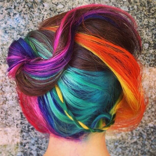 ✝☮✿★ Colorful Hair ✝☯★☮: Crazy Hair, Rainbows Hair, Hair Colors, Rainbows Swirls, Rainbows Colors, Fashion Hairstyles, Hair Style, Hair Stuff, Colors Hair