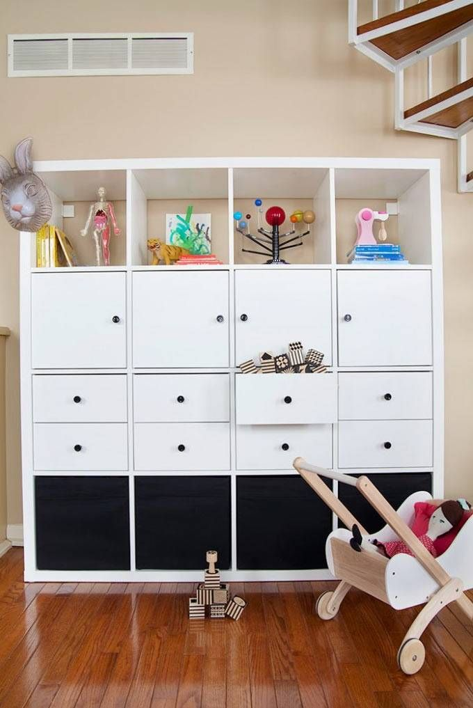 See 20 of the best Ikea Kallax Hacks ideas and the different ways you can DIY them for your home. Use the Ikea Kallax for storage in your kids room. A great to hide mess and clutter.