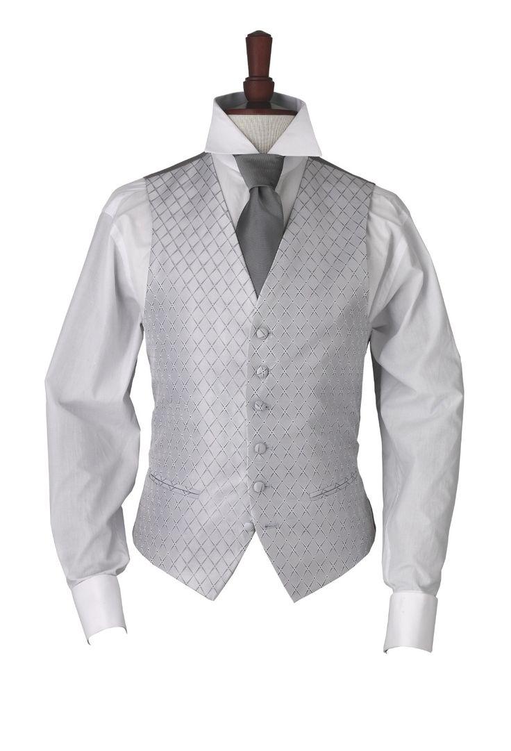Hawkstone Grey diamond patterned morning waistcoat