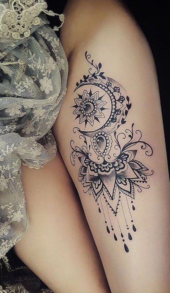 Moon Mandala Thigh Tattoo Ideas For Women Ideas Frescas Del