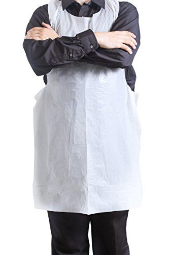 #Disposable #Aprons - #100 #Plastic #Aprons for #Painting, #Cooking or Any Other #Messy #Activities by #Upper #Midland PERFECT FOR #PAINTING, These high quality #aprons are perfect for your #messy art and crafts, #painting at home or art class GREAT FOR #COOKING, These #aprons are really comfortable and do not tear easily. they are perfect for #cooking at home or #cooking class. WATERPROOF BULK #APRONS FOR FOOD SERVICE, Thanks to its waterproof design, this apron is great for