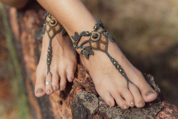 Fairy handmade macrame barefoot sandals jewelry by JuliaZnaidaArt