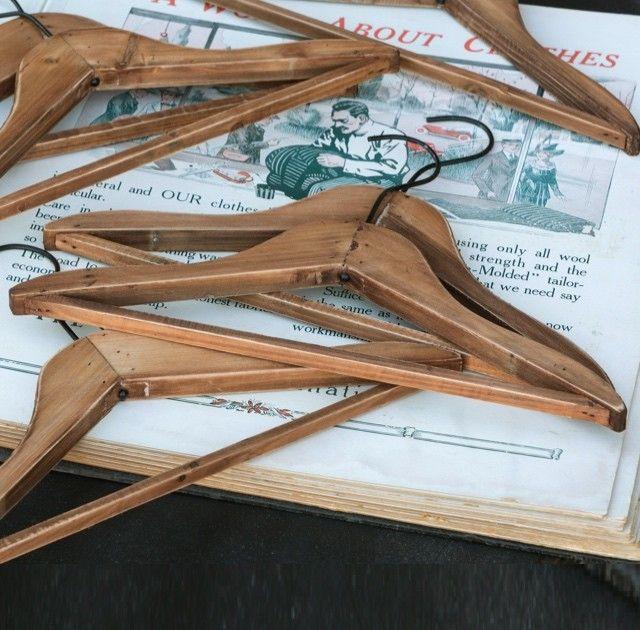 Vintage Style Wooden Hangers, Set Of 6
