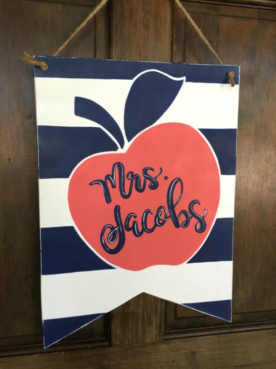 Teacher Apple Name Sign  navy blue and coral