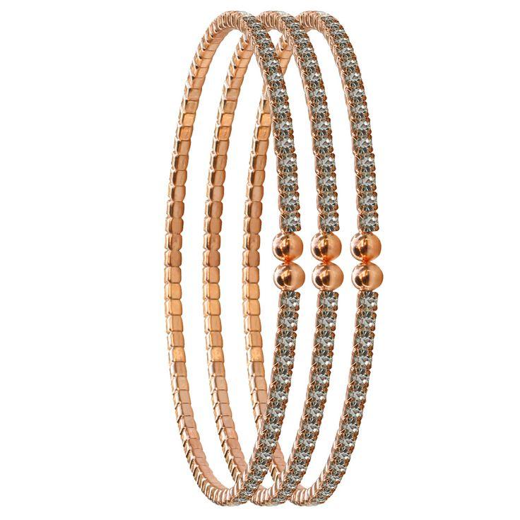 2mm Czech Crystal Bracelets Set of Three – Rose Gold