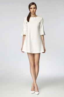MISEBLA ecru sukienka z ozdobnym dekoltem i rękawkami