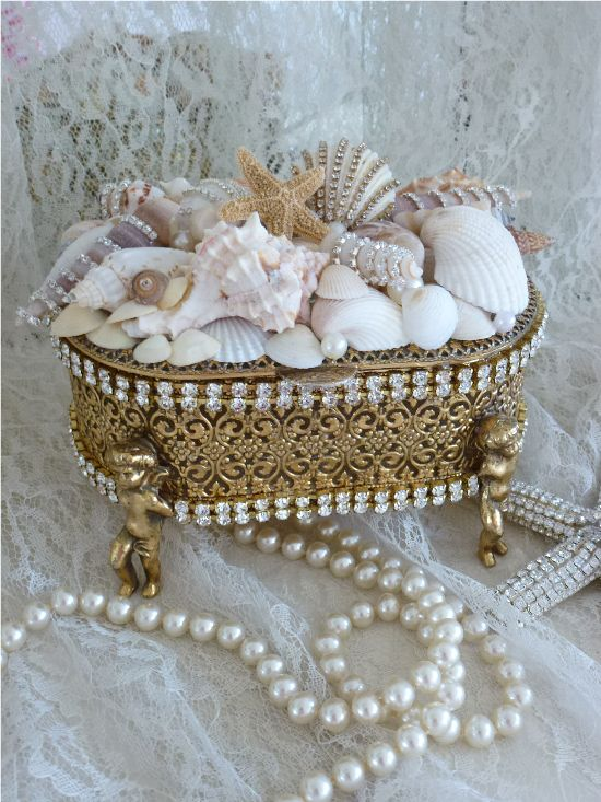 Sparkling Treasures From The Sea Bejeweled Trinket Box Cherub Feet-Weiss, Juliana,brush, comb, vintage, Clock,tray, mirror, perfume, antique, vintage, victorian, Sparkle, Eisenberg, Judy Lee,