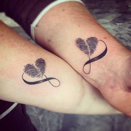 fingerprint infinity double tattoo wrist