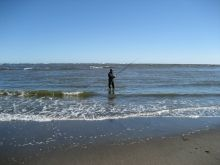 Surfcasting near Waiuku, New Zealand.