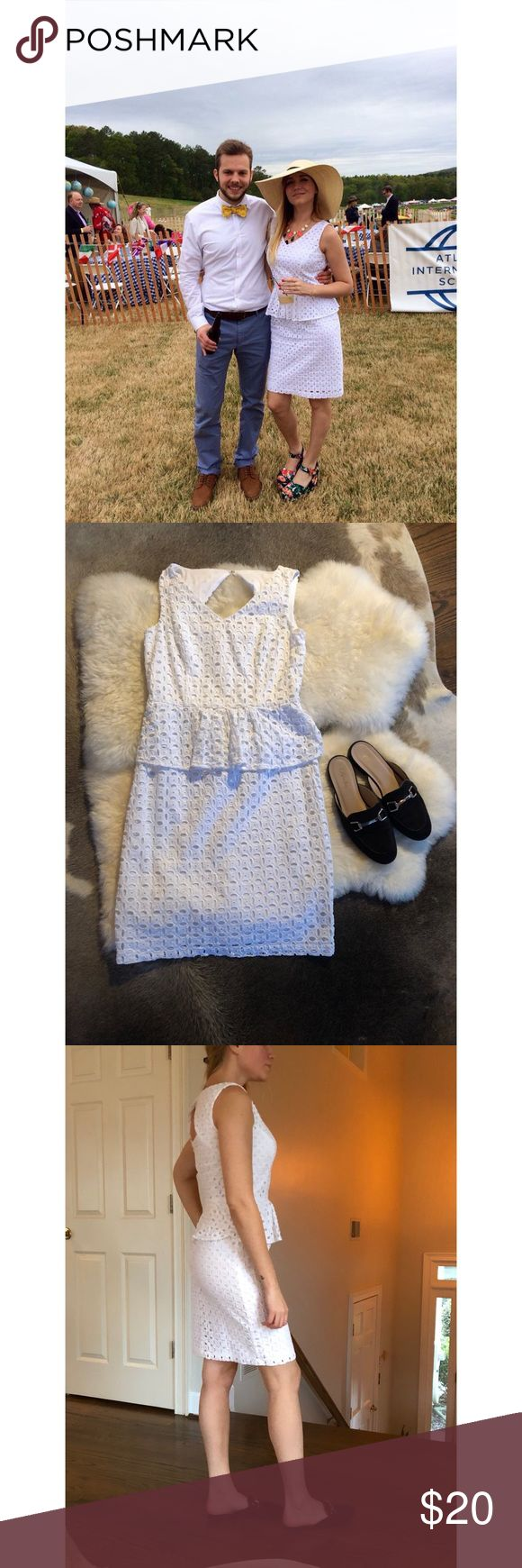 Zara white peplum dress 100% cotton SIZE 2 Perfect little white dress from Zara, SIZE 2 but fits like a 4. Only worn once for an event. In like new condition👌🏻✨ Zara Dresses Midi