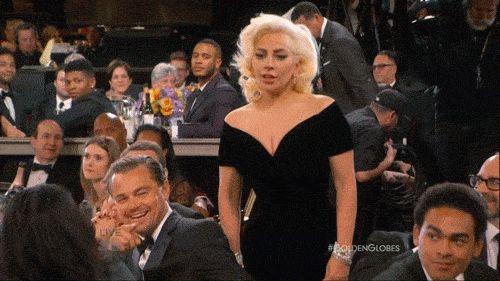 Leonardo DiCaprio and Lady Gaga GIF Golden Globes