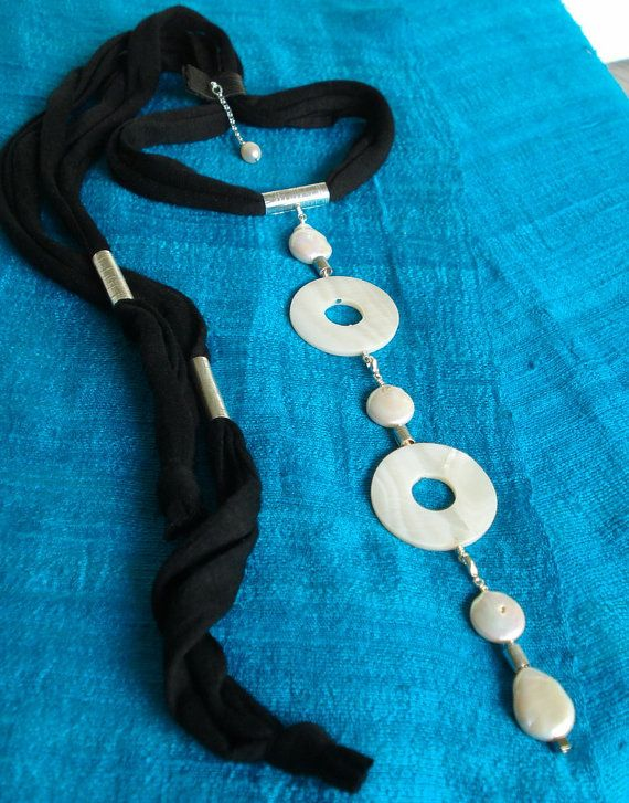Choker necklaces pearls and mother of pearl by DenDesignjewels ( $ 79)