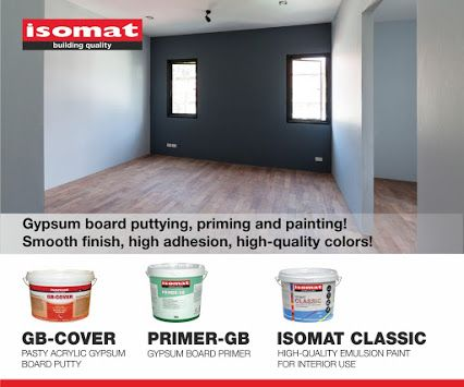 Complete painting your gypsum boards in three steps! Create a flat, smooth final surface, ready to prime and paint, using GB-COVER pasty, acrylic putty. Enhance the adhesion of the paint and improve its coverage with the new gypsum board primer, PRIMER-GB. Paint the surface in the color you want with the high-quality, durable emulsion paint ISOMAT CLASSIC. For more information, please visit our website: www.isomat.eu