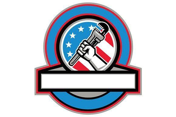 Plumber Hand Pipe Wrench USA Flag  #plumber