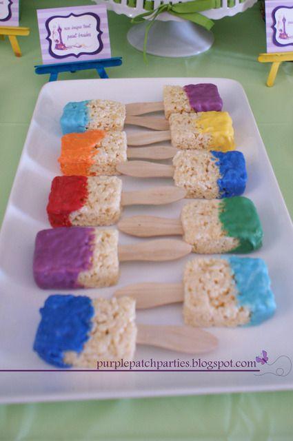 Rice Krispie treat paint brushes