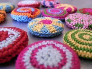 crochet-covered buttons (the pin kind)