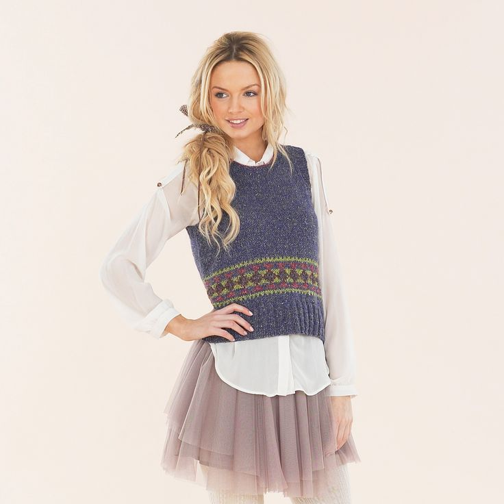 The Fair Isle Tank for girls from the Luxurious Aran Tweed hand knit book. Winter style.