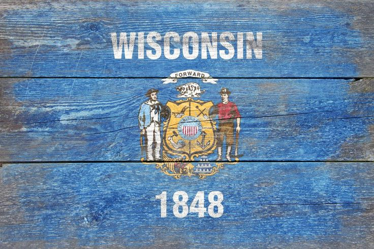 Print (Wisconsin Flag - Barnwood Painting - Lantern Press Artwork)