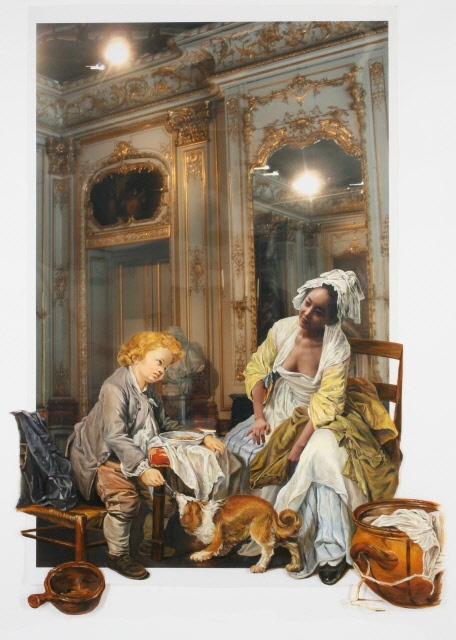 The Costume of Painter - J.B.Greuze 080905  2008  oil on vinyl, vinyl on photograph  216 x 154cm