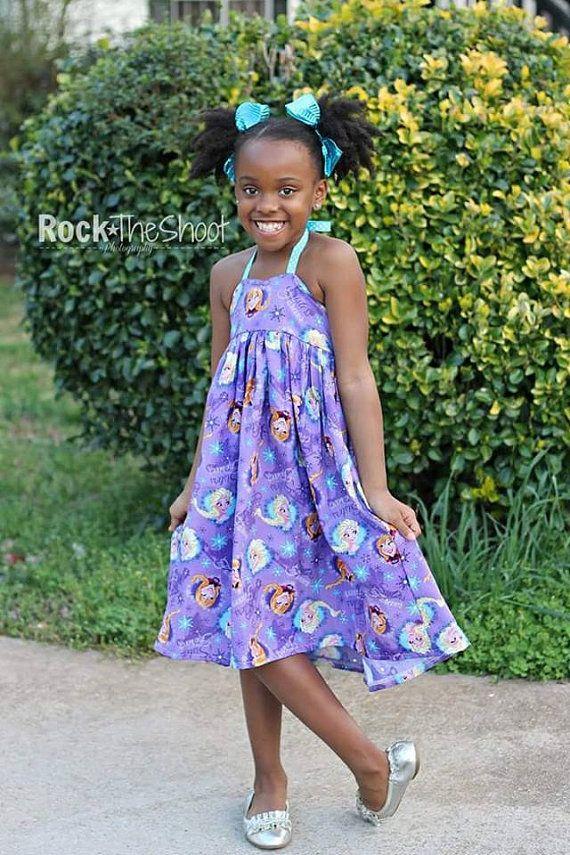 Purple Frozen Halter Dress for Girls - Elsa & Anna - Movie - Birthday - Party - Celebration - Sundress - Special Occasion - Princess - Gift