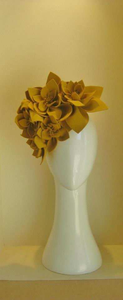 "Jill & Jack Millinery ""Miss Mustard"" headpiece. Made from French felt, stunning. $295"
