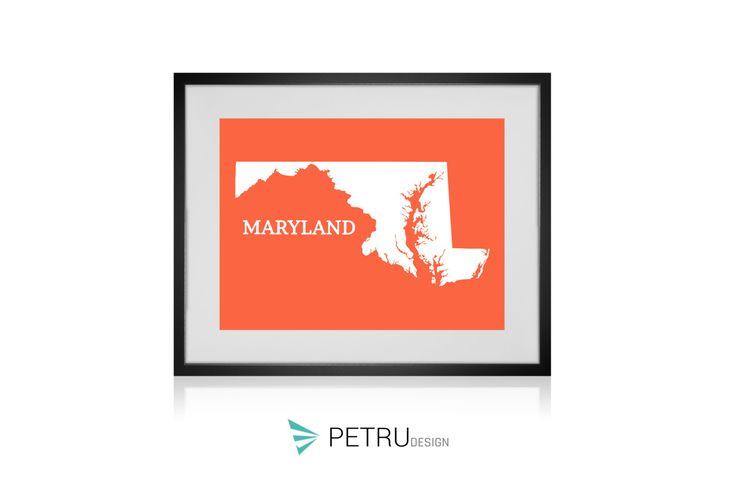 Maryland print - Maryland art - Maryland poster - Maryland wall art - Maryland printable poster - Maryland map - Maryland Sunset art by Exit8Creatives on Etsy