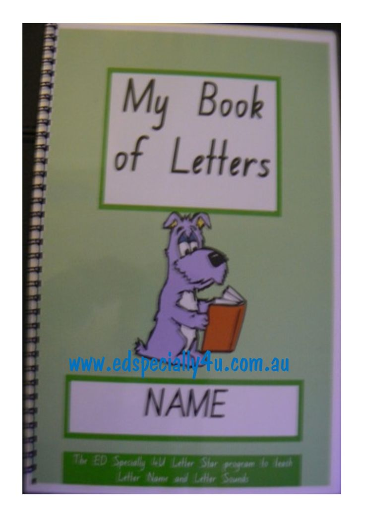 My book of letters - includes all of the letters of the alphabet, in a write on/wipe off booklet to be used over and over again.  Personalised and fun to use, this resource reinforces the letter learning in our initial sounds 'Letter Stars' resource  www.edspecially4u.com.au