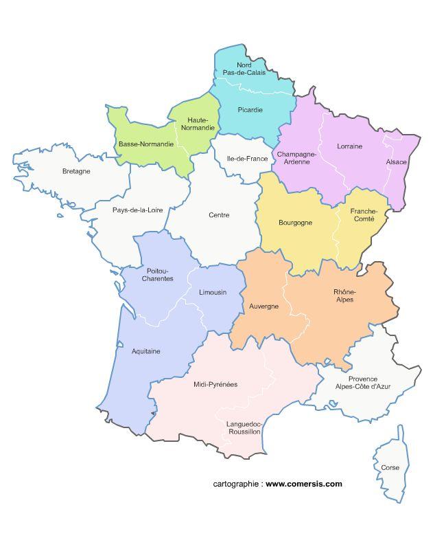Carte administrative de France et liste des villes françaises.
