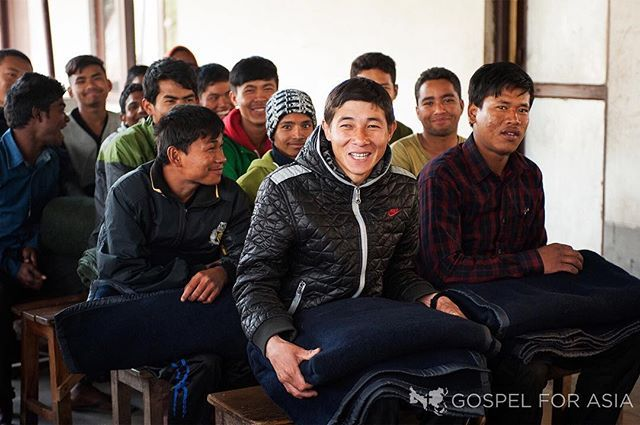 Like these Bible college students, people are so happy and grateful to receive blankets to keep them and their families warm during cold winter nights.