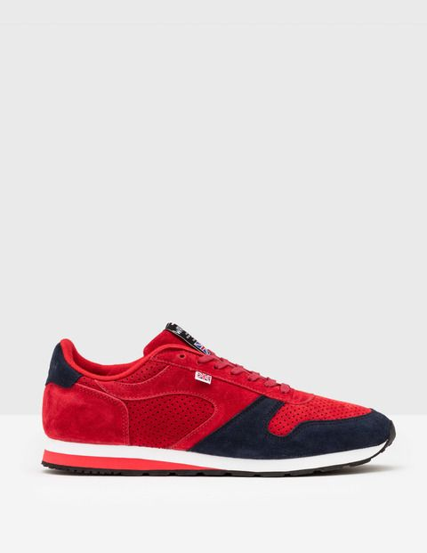 #Boden Walsh Seoul 88 Red/Navy Suede Men Boden, Red #Originally developed as a mixed-terrain running shoe for the GB Olympic team in 1988, these trainers are still produced by expert craftsmen in the Walsh factory in Bolton, England. Made from premium materials theyre built for comfort and will last for years. Theyre perfect for serious sportsmen, but look pretty good with jeans too (if youre taking a day off).