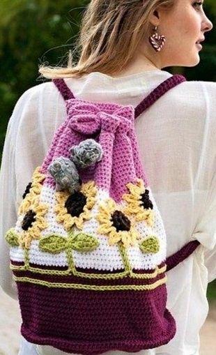 Рюкзак с подсолнухами крючком / Вязание / Handlife.ru - творческая жизнь!