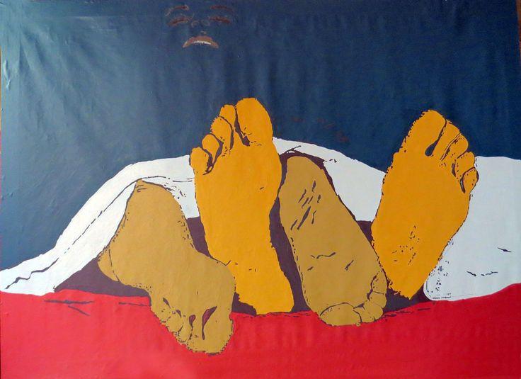 """pinturas de la exposición en el mes de agosto, """"TRAYECTO NARZISO, amor a sí, amor a otros"""" en el patio del ayuntamiento de Llerena -Badajoz-"""