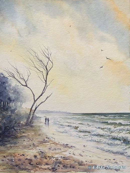Edyta Nadolska Watercolor Art - 'Western beach', Darß, Mecklenburg-Vorpommern, Germany, 2016