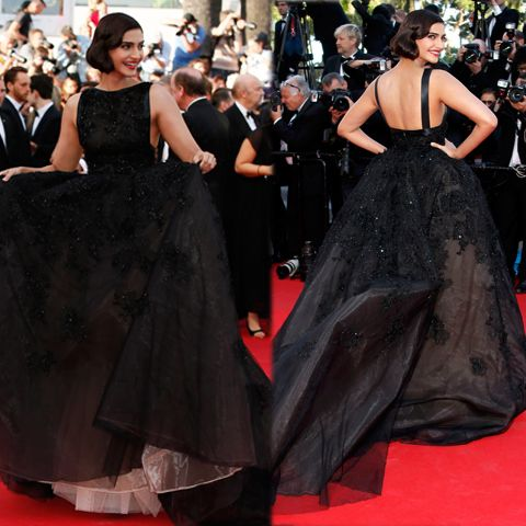Bollywood actress Sonam Kapoor was a ‪#‎vintage‬ delight in a voluminous black Elie Saab Couture gown at the 67th Cannes Film Festival! Sonam Kapoor had done her hair in a faux bob. Chopard earrings and red lip colour. Digitally print your own unique fabric and style your own wardrobe in India.#digitalprint #india #digitalprintfabric  www.chimoraprint.com